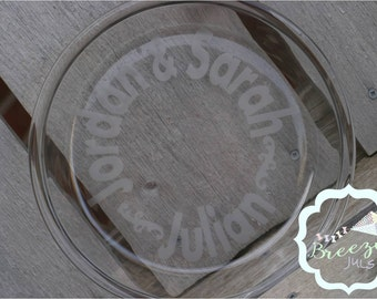 Personalized Glass-etched 9.5 inch pie pan