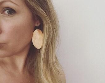 Orange Oval Leather Earrings