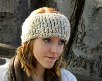 Simple Crochet Headband, Cream, White