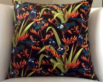 New Zealand. Cushion cover, Tui, birds, Made in New  Zealand. Souvenir. Unique. Kiwiana. Pillow.