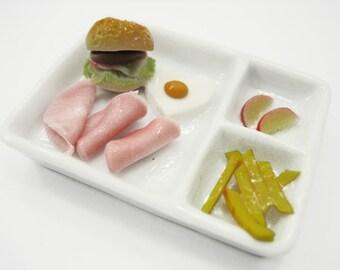 Dollhouse Miniature Food Breakfast Ceramic Tray Morning Set Supply Deco Charms - 12088