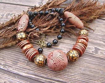 Beautiful elegant necklace Red black and brown Autumn necklace