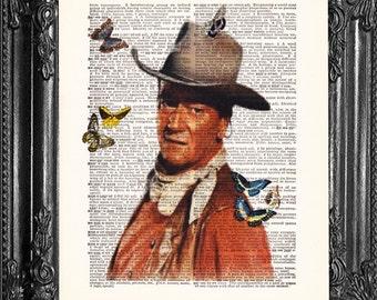 John Wayne Art- Dictionary Print- Vintage Book Print- Antique Book Page