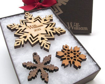 Custom Snowflake Christmas Ornament Gift Box from Nestled Pines - Wood Ornament