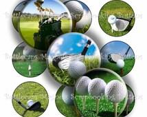 """Digital Bottle Cap Collage Sheet - Golf Balls - 1"""" Digital Bottle Cap Images"""