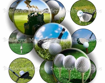 "Digital Bottle Cap Collage Sheet - Golf Balls - 1"" Digital Bottle Cap Images"