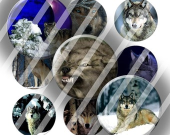 "Digital Bottle Cap Collage Sheet - Wolves - 1"" Digital Bottle Cap Images"