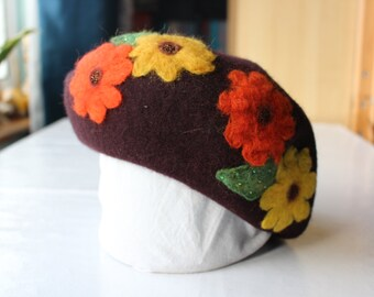 Brown Beret With Orange and Yellow Flowers