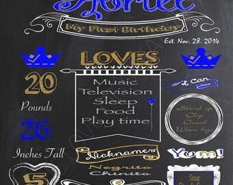 Royal Prince Chalkboard Poster, Birthday, Baby Shower or special milestone