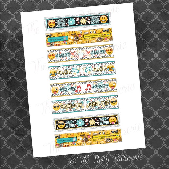 Emoji Printable Party Straw Flags