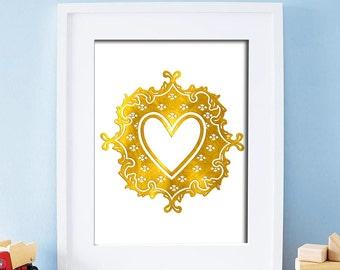 Love Printable Art Heart Print Gold White Decorations Wedding Decor Valentines Day Gift Digital Art / Instant Download