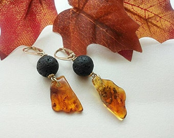 Natural amber earrings and lava rock