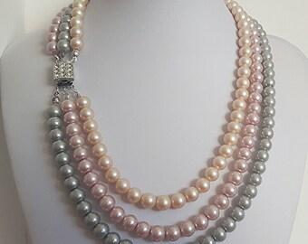 3 vintage necklace pearl strands