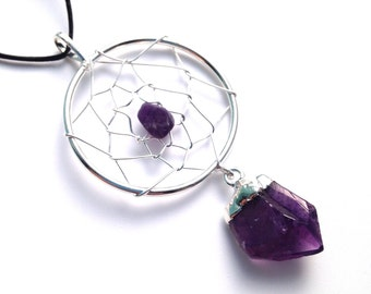 Amethyst Dreamcatcher Silver Necklace