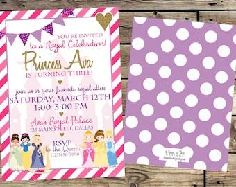 PRINCESS BIRTHDAY INVITATION, Disney Princess Birthday