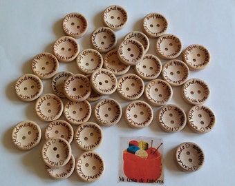 Natural wood Handmade buttons with love x 10 units