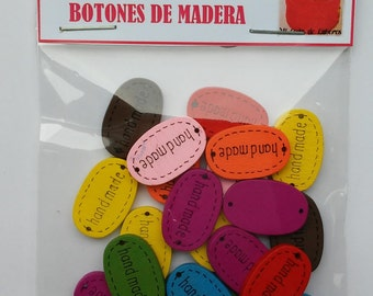 Button labels of wood 19 mm x 20 units – wooden labels - wooden tags - handmade tags-wooden buttons