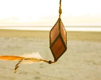 POI - Leather and wool - Tribal show poi - Handmade Flow Arts - Goa Bohemian Circus - Practice poi