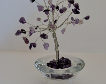 Wire Tree Sculpture with Gemstone Amethyst Chip Beads