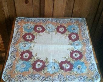 Vintage Floral Handkerchief, Ladies Hankies, Cotton Handkerchief, Cottage Chic Hankie, Wedding Handkerchief, Hanky
