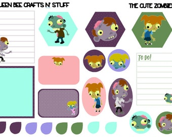 The Cute Zombies - stickers for planners, notebooks, journals, etc.