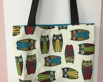 Xl owl print market bag tote bag