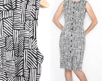 Vintage Midi Dress- Abstract, Pan-African Mod, Knee Length, Fitted, Woven Pattern- Black and White, Sleeveless, Small