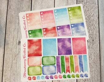 Watercolor Themed Planner Stickers -- Made to fit Vertical Layout