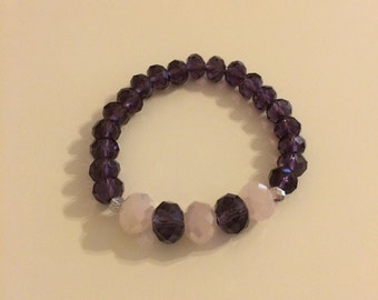 Purple & pink shimmer beaded bracelet