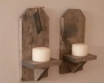 Rustic Wood Wall Sconce (Pair) // 12