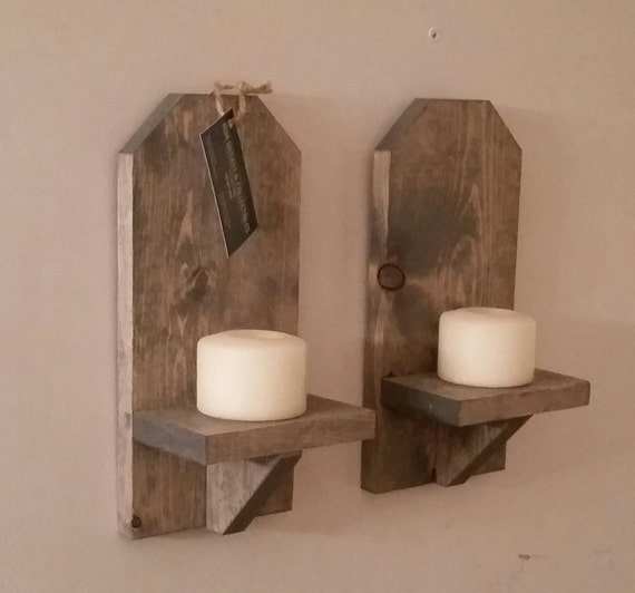 Rustic Lodge Wall Sconces : Rustic Wood Wall Sconce Pair // 12 Wall Sconce