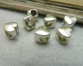 6 Large Hole Heart Beads, Antique Silver Tone (1C-9)