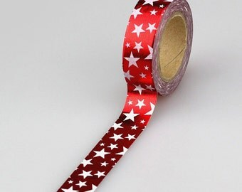 White Star Red Foil  Washi Tape, Embellishment, Craft Tape, Decorative Tape, Printed Tape, Scrapbooking Tape (2A-1)