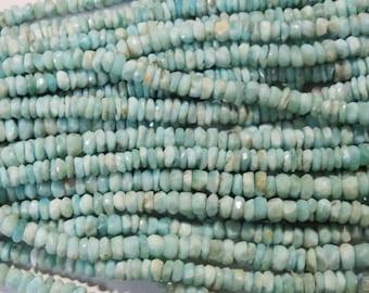 "Larimar Dominican Republic Blue Faceted stone bead rondelles strands 16"" Gemstone 5mm Semi precious stones loose Jewelry Healing necklace"