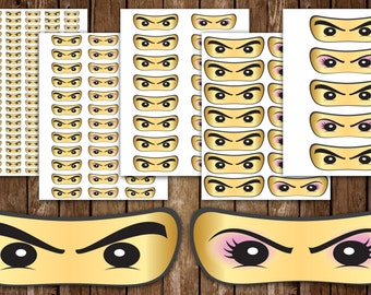 Ninja Eyes Male and Female Sticker Printables Birthday Party 1 to 5 Inch Instant Download