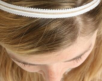 Headband Andrea (& white and gold ribbons)