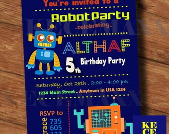 Robot Birthday Invitation,Robot Birthday Party,Fun Robot Birthday,Printable,Robot Invitation Card,Robot Card Party,Any Age Birthday