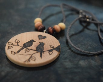 Rustic Wood Burned Love Bird Necklace - Boho - Hippie - Branches and Hearts - Round Natural Wood - Wood Beads - Hemp Chord