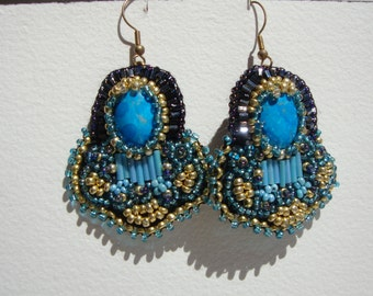 "Earrings""boho chic""fully embroidered on leather, turquoise"