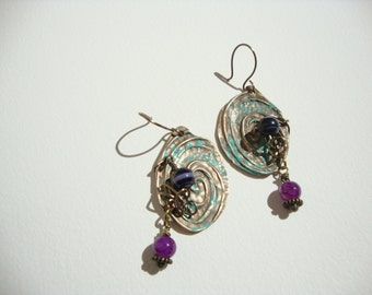 bocles to ethnic ears, bronze pur, agate