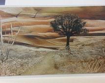 Encaustic Art greeting card tree landscape unique and handmade