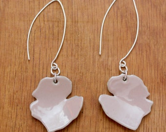 Coral Rose petal earrings