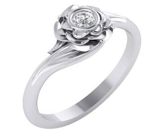 Unique Diamond Engagement Ring, Lotus Diamond Engagement Ring, Flower Diamond Ring, Minimalist Diamond Ring, Diamond Engagement RIng.