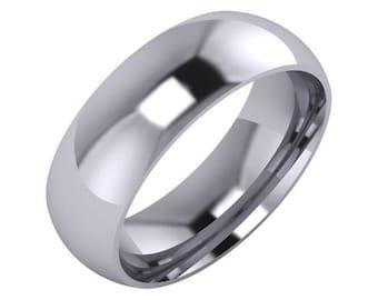 Comfort Fit Mens Wedding Band 6mm, Mens Wedding Ring 6mm Wide Comfort Fit,14k White Gold Mens Wedding Ring,14k White gold Men's Wedding Band