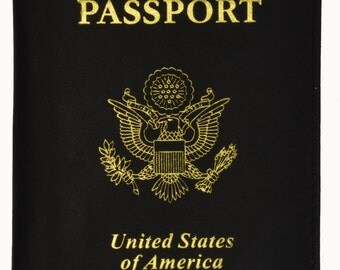 Gold USA Emblem Printed Genuine Leather Travel Passport Cover/Holder Black, Purple, Red and BabyBlue