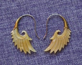 """Tribal Hanging Earrings, """"Wings of Autumn (s)"""" Naturally Organic, Mother of Pearl, Brass Tops, Sterling Silver Posts, Hand Carved"""
