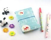 Fauxdori, couverture en tissu japonais pour mini-carnet  (motifs poissons)