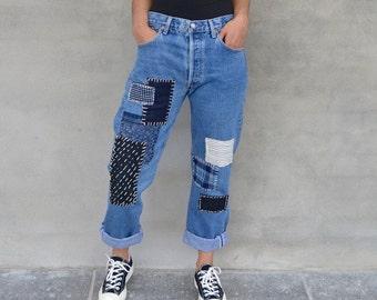 32 W X 32 L - Levi's Patchwork Jeans