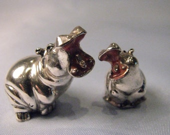 Couple of hippos-925 Silver statuettes/1000