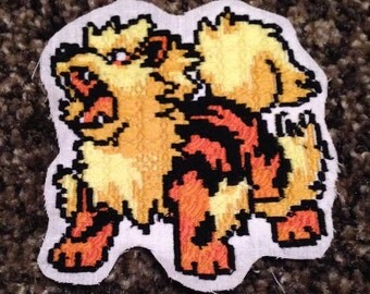 Pixel pokemon Arcanine embroidery patch. Sew on / iron on.